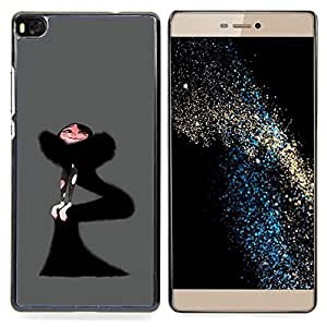 - Black Dress Woman Fashion Drawing Art Skinny - - Snap-On Rugged Hard Cover Case Funny HouseFOR HUAWEI P8