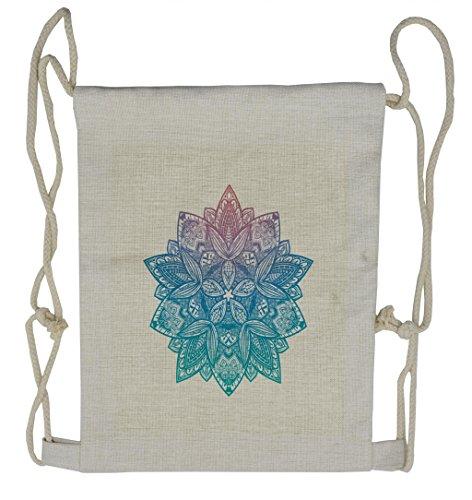 Lunarable Gypsy Drawstring Backpack  Mandala Boho Paisley Petals  Sackpack Bag