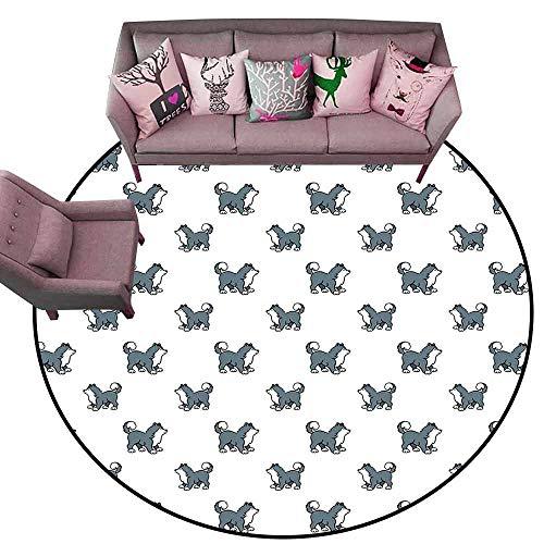 Indoor/Outdoor Rubber Mat Dog,Husky Puppy Siberian Energetic Pet Alaskan Origin Sketch Style Cartoon Cold,Blue Grey Black White Diameter 66