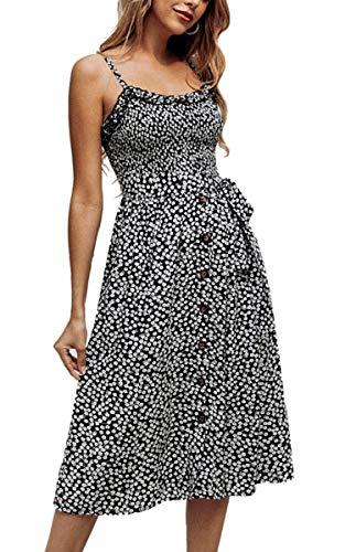 - Angashion Women's Dresses - Summer Boho Floral Spaghetti Strap Button Down Belt Swing A line Midi Dress with Pockets 016 Black L