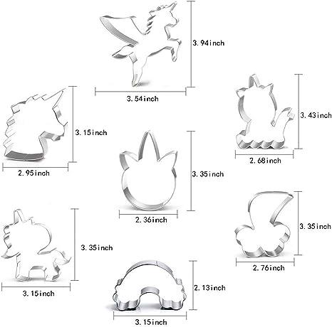 Juego de 6 moldes de galletas de unicornio de pl/ástico con dise/ño de unicornio Orapink