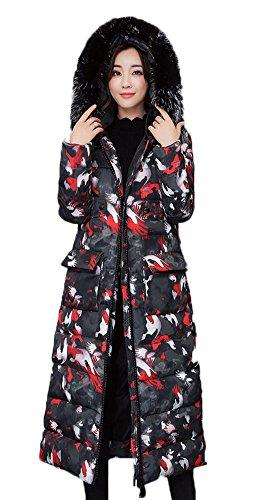 MILEEO Femme Manteau Blouson Matelass  Capuche Longues Manteau d'hiver avec Fourrure Rouge