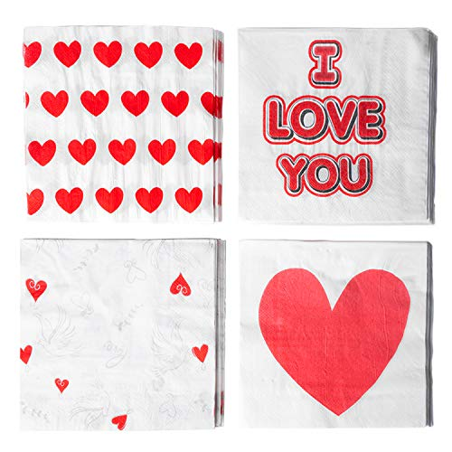 Xieda 80 Pack Valentine's Day Disposable Paper Napkins Cocktail Beverage Napkins for Valentine's Day Party Supplies,2-Ply,4 Designs ()
