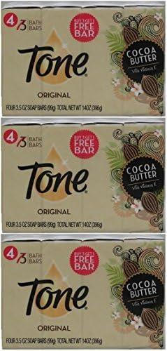 Tone Bath Bars Cocoa Butter, Original, 3.5 Oz, 4 Count, Pack of 3 12 Bars Total