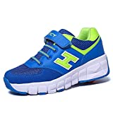 Vilocy Unisex Kids Toy Trainers Wheel Shoes Roller Skates Auto Sneakers Blue Synthetic US 2.5