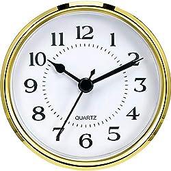 Hicarer 3-1/2 Inch (90 mm) Quartz Clock Fit-Up/Insert with Arabic Numeral, Quartz Movement (Gold Rim)