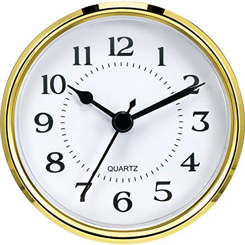 "QUARTZ CLOCK FIT-UP//Insert 2-1//2/"" 65mm Arabic Numeral,White 10 PAK Gold Trim"