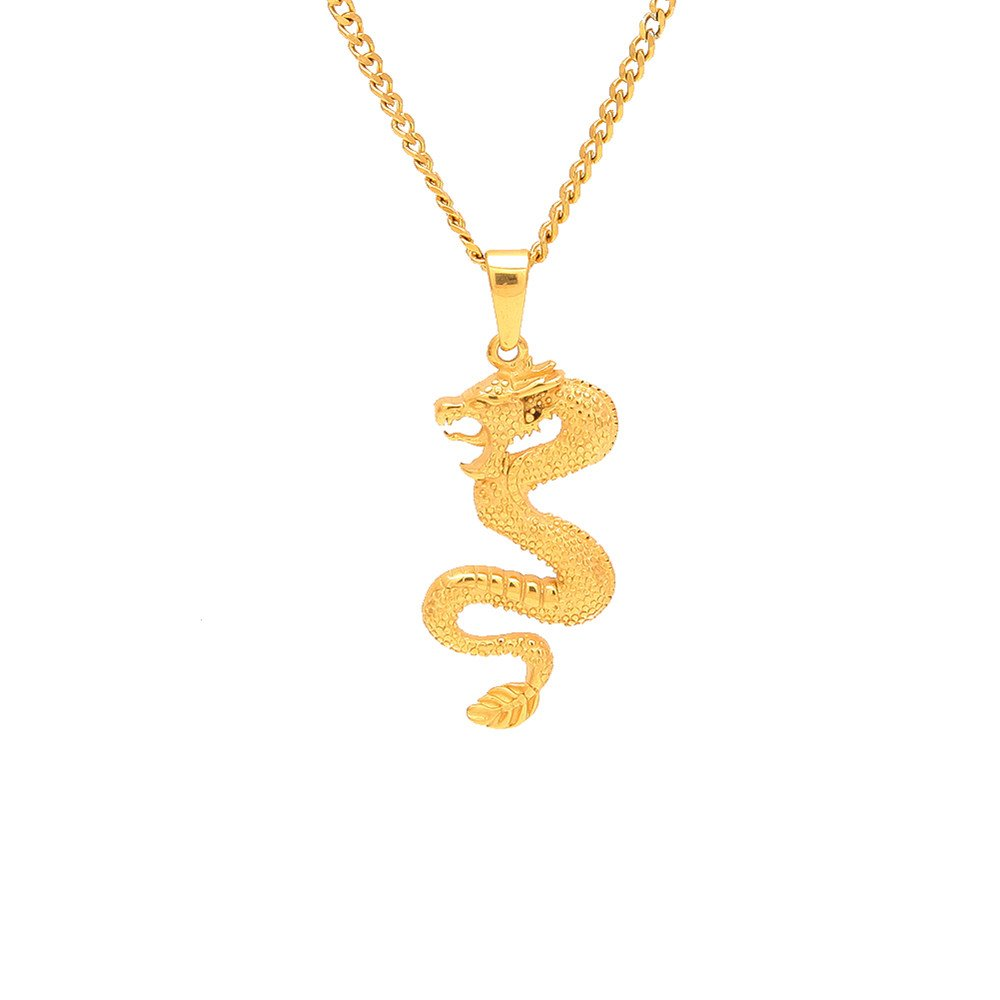 Jewelrysays Hip Hop Men CZ Jewelry Gold Dragon Pendent Bling Necelace(Cuba Chain)