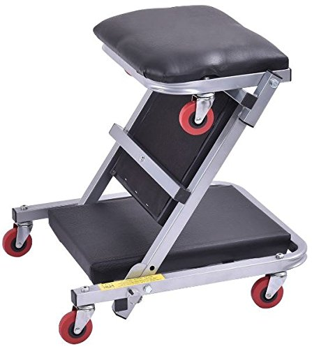K&A Company Foldable Mechanics Z Creeper Seat Rolling Chair Garage Work Stool New 40'' 2 In 1 Black