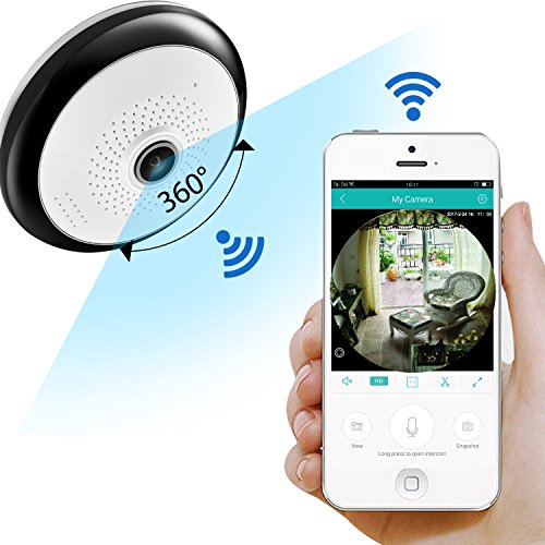 ZRHUNTER 360 Degree Home Security Camera Panoramic WiFi Camera HD 960P Baby Monitors Pet ...