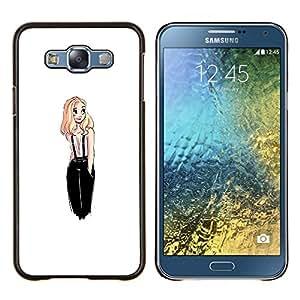 De diseño de moda Rubio polluelo Mujer Blanca- Metal de aluminio y de plástico duro Caja del teléfono - Negro - Samsung Galaxy E7 / SM-E700