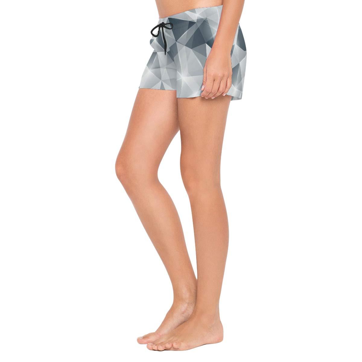 Glitter Diamond Texture Womens Board Shorts with Pockets Quick Dry Drawstring Beach Swim Trunks S L