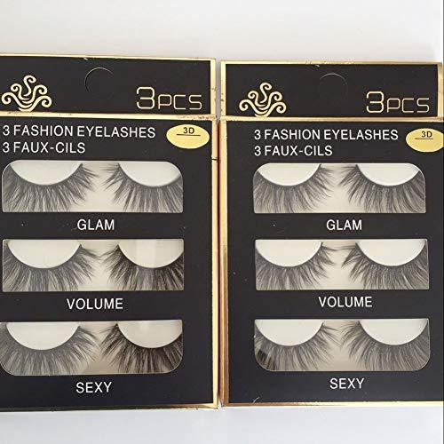 Sunniess Hair Imported Fiber 3D Mink False Eye lashes Handmade Reusable Long Cross Makeup Natural 3D Fake Thick Black EyeLashes 6 Pairs(3D-01) - Black False Eyelashes Eyelash