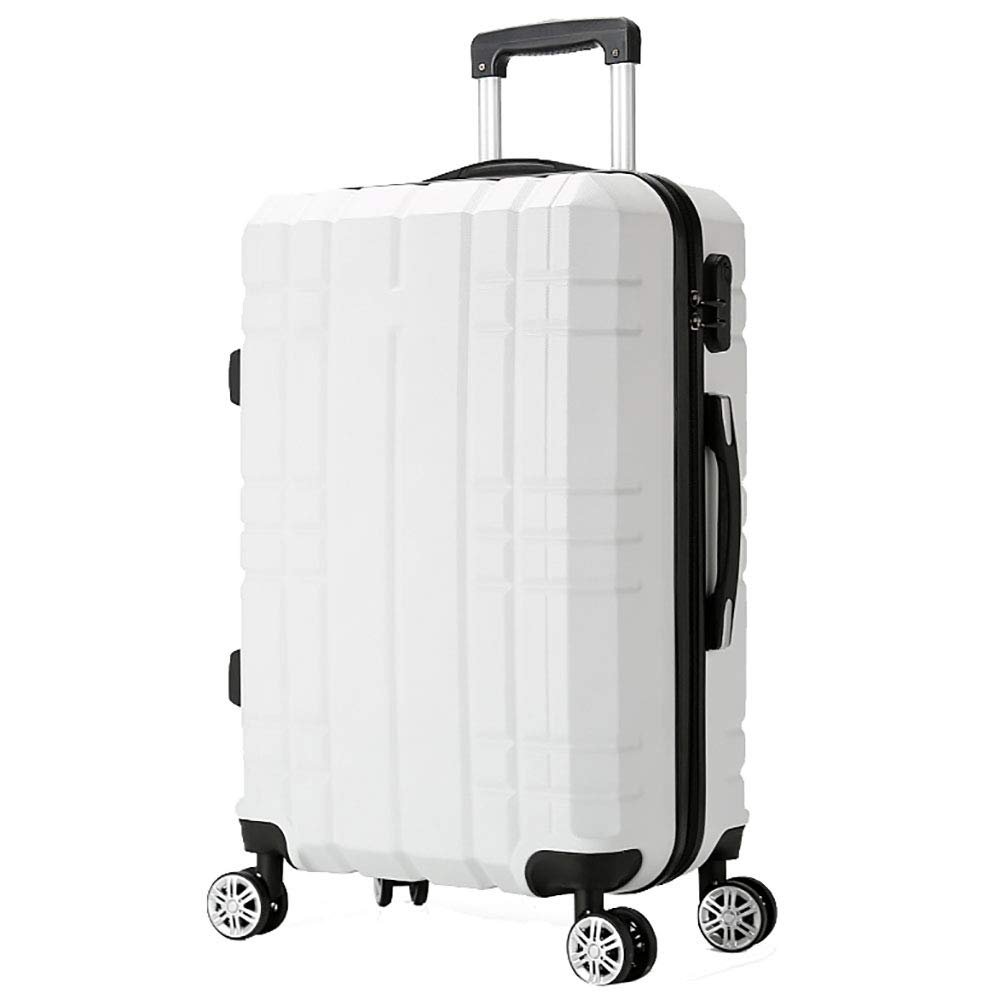 トローリーの荷物の搭乗のスーツケーススーツケースのパスワードバッグ男性の荷物のスーツケースユニバーサルホイール20インチホワイト B07KTZY3FY