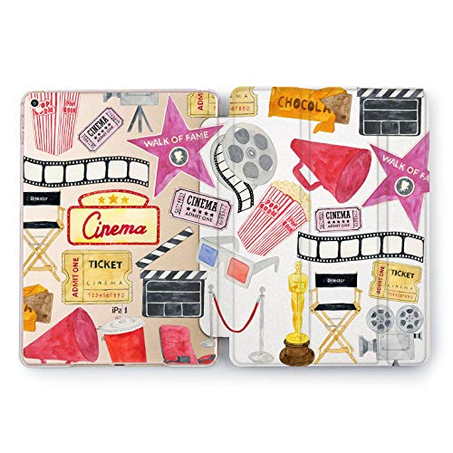 Wonder Wild Cinema Club Print Case IPad 9.7 2017 A1822 A1823 2018 A1893 A1954 Air 2 A1566 A1567 6th Gen Clear Design Smart Hard Cover Skin Texture Stars Cinema Club Movie Theater Oscar Director -