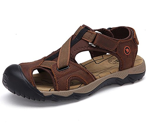 BININBOX Mens Boys Leather Sandals Sports Outdoor Beach Casual Shoes Dark Brown XIo4STq