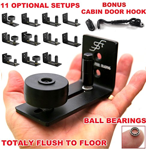FLORADIS 11 Setup Options BARN Door Floor Stay Roller Guide/Thin Fully Adjustable Wall Mount Guides/Cabin Door Hook/Bottom Bracket Sits Flat on Ground/Ball Bearings Ultra Smooth Stop Hardware KIT -