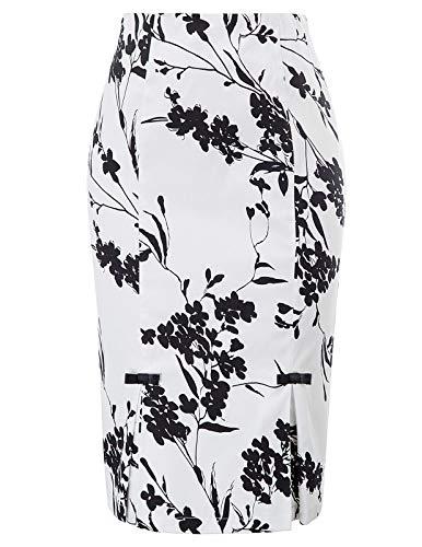 Belle Poque Women's High Waist Stretch Pattern Print Pencil Skirt L, Floral-1 ()