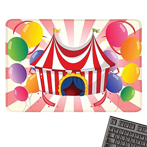 Circus DecorOffice Mouse PadCartoon of Circus Tent with Colorful Balloons Striped BackgroundWaterproof Mice Pad 15.7