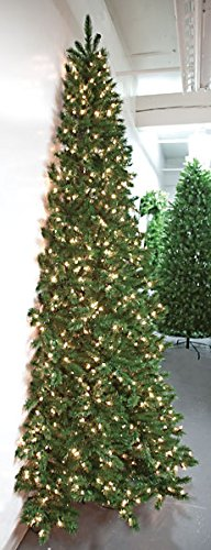 7'6''Hx52''W Half-Tree/Wall Fir Lighted Artificial Christmas Tree w/Stand -Green