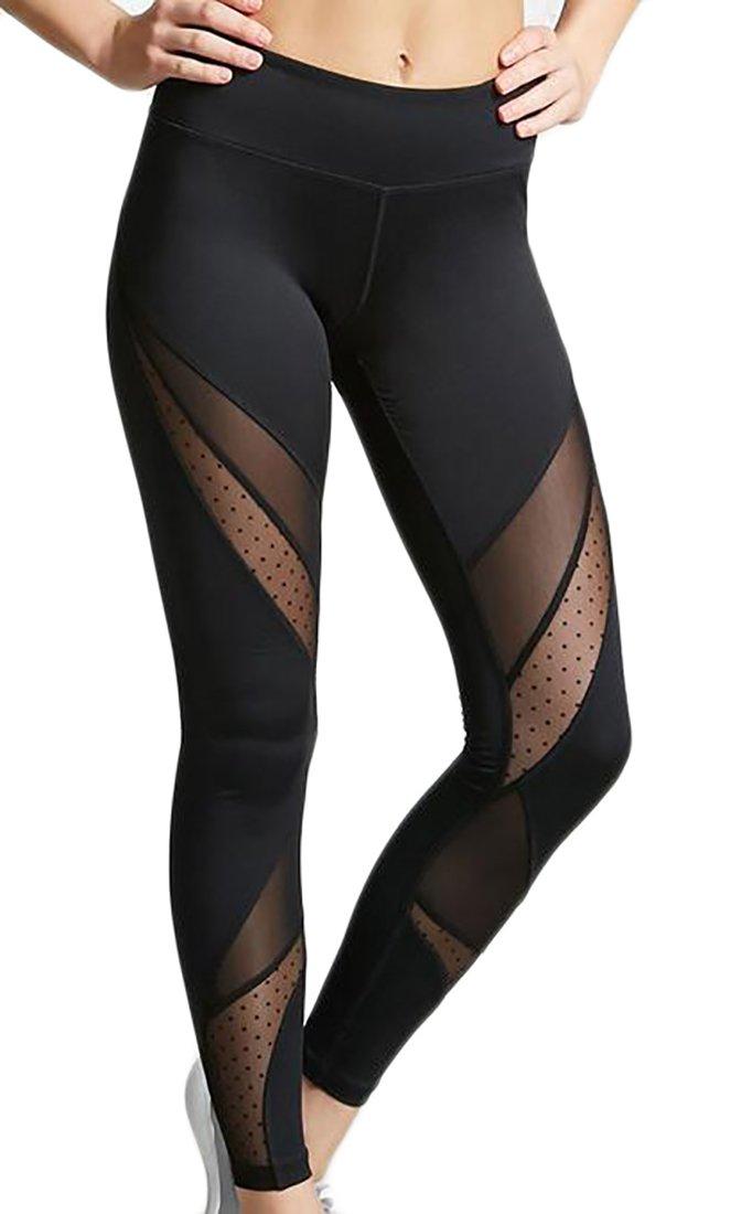 Spirio Womens Athletic Mesh Stitching Skinny Stretchy Yoga Legging Pants