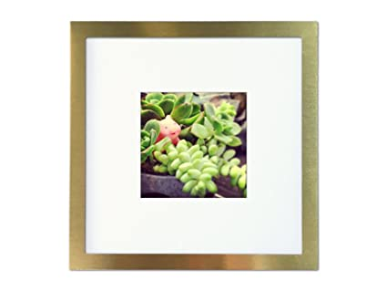 Tiny Mighty Frames - Brushed Metal, Square Instagram Photo Frame, 8x8 (4x4 Matted) (1, Gold)