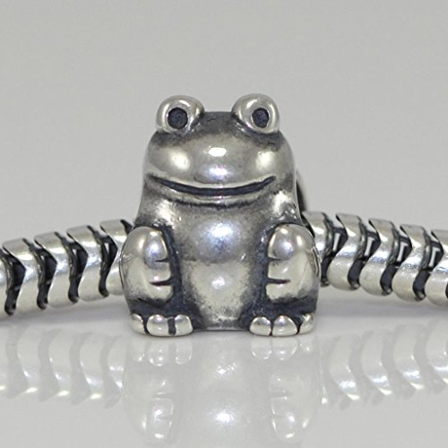 Froggie Frog Good Luck & Abundance Sterling Silver Charm Bead Fits Pandora Biagi Troll Chamilla All Other Charm Bracelets EC3