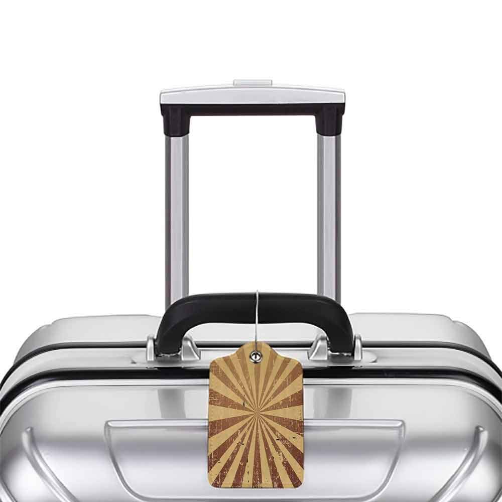 Decorative luggage tag Tan Sunburst Pattern Aged Rusty Jagged Grungy Retro Style Rays Old Worn Composition Suitable for travel Brown Light Brown W2.7 x L4.6