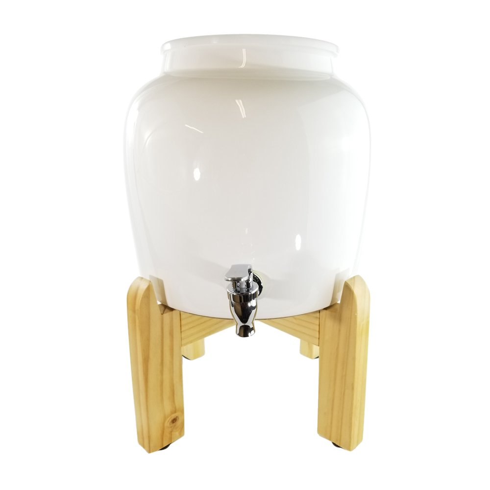 Premium Solid White Porcelain Water Crock Dispenser & Wood Counter Stand Set – Elegant Countertop Dispenser With 2.5 Gallon Capacity & No Drip Faucet, Includes Levelers – Easy Assembly