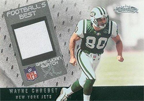 Autograph Warehouse 343170 Wayne Chrebet Player Worn Jersey Patch Football Card - New York Jets 2002 Fleer Showcase No. 80-WR by Autograph Warehouse