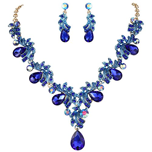 BriLove Wedding Bridal Necklace Earrings Jewelry Set for Women Crystal Teardrop Filigree Leaf Twig Enamel Statement Necklace Dangle Earrings Set Royal Blue Sapphire Color Gold-Toned ()