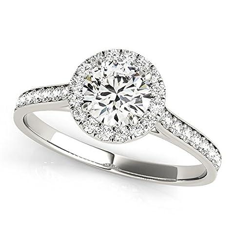 Petite Round Halo Diamond Engagement Ring - Cut Halo Petite Diamond