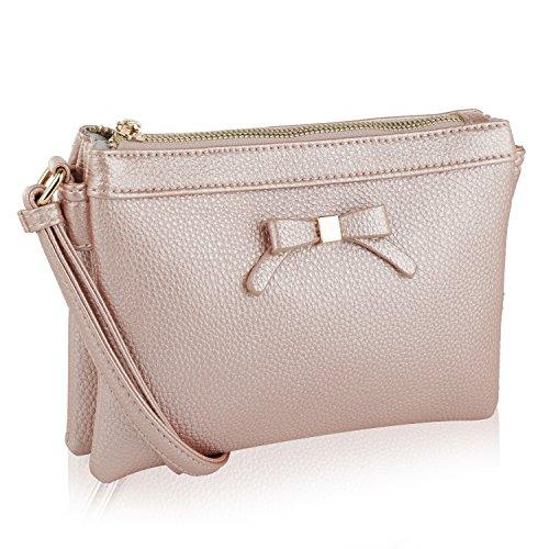 MKF Collection Celebrity Style Saddle Crossbody Bag,Waist Bag by Mia K Farrow (Rose Gold Anastasia)