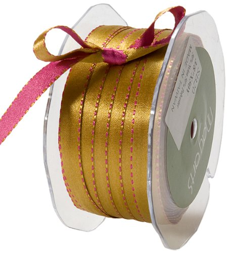 May Arts 3/8-Inch Wide Ribbon, Fuchsia and Antique Gold Satin