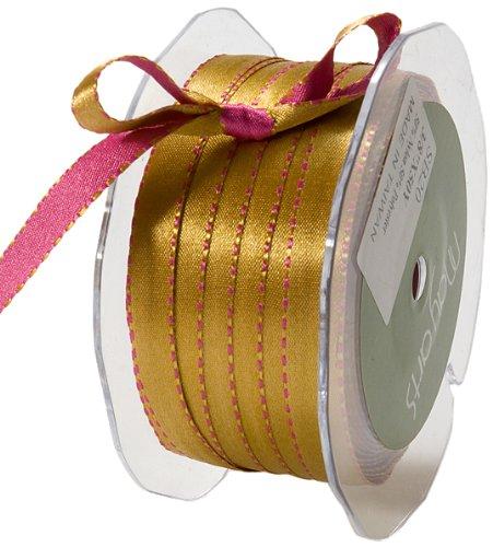 May Arts 3/8-Inch Wide Ribbon, Fuchsia and Antique Gold Satin - Satin Gold Sb