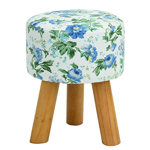 Floral Round Ottoman Low Foot Step Stool With Wood Legs For Wearing Shoes,Blue,Diameter: 11.8