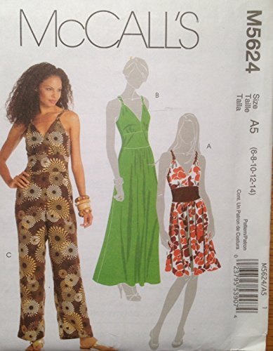 Mccalls M5624 Sewing Pattern for Inset Waist Bodice Back Zip Sleeveless Dress or Jumpsuit in 3-lengths Has Twisted Straps and Bust Gathers (Zip Twisted)