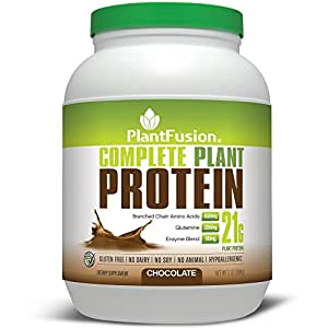 PlantFusion Complete Protein Powder, Chocolate, No Soy or Rice, 30 Servings, 21g Protein, 2lb Tub