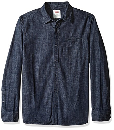 (Levi's Men's Greg Classic Denim Button Down Shirt, Heavy Rinse, Large)
