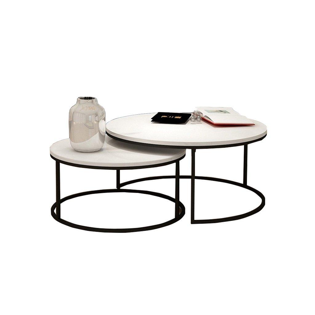コーヒーテーブル ソリッドウッドテーブル、2 /クリエイティブ/レトロ/メタル/リビングルーム/ラウンドテーブル/ティーテーブル/コーヒーテーブルのセット 小さなコーヒーテーブル B07GLRYKV2 白