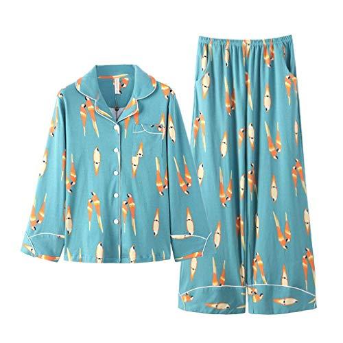 Respirable Anchos Moda Manga Pantalon Pijamas Informales Ropa Fashion Cómodo Larga Primavera Mujer Grün Pijama Con Dormir Piezas Set 2 Impresión Otoño De 0PqRUxw7