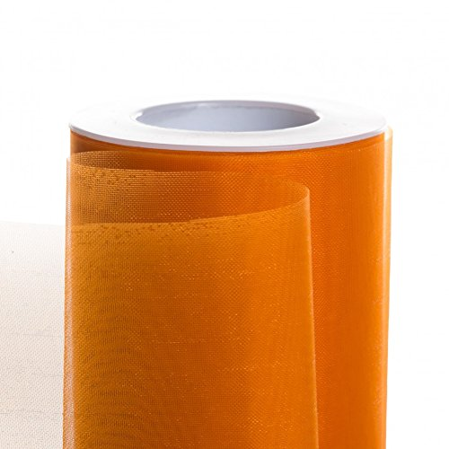 Koyal Wholesale 25-Yard Sheer Organza Fabric Roll, 6-Inch, (Orange Organza Fabric)
