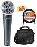 Shure Beta 58A Supercardioid Dynamic Vocal Microphone Bundle with Gear Bag, XLR Cable, and Austin Bazaar Polishing Cloth