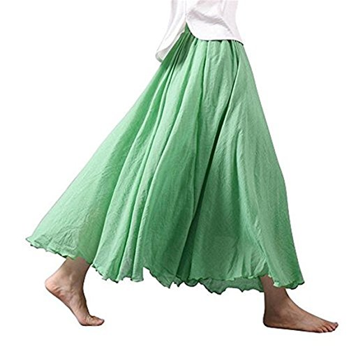 Women's Elastic Waist Bohemian Style Solid Color Band Cotton Linen Long Maxi Skirt Dress 45cm Fruit (Green Linen Skirt)