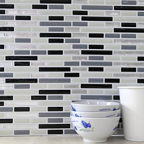 Fancy-fix Vinyl Peel and Stick Decorative Backsplash Kitchen Tile-pack of 4 Sheets
