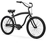 sixthreezero Men's in The Barrel 3-Speed Beach Cruiser Bicycle, Matte Black w/Black Seat/Grips, 26