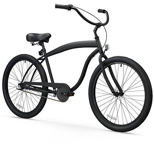 - sixthreezero Men's in The Barrel 3-Speed Beach Cruiser Bicycle, Matte Black w/Black Seat/Grips, 26