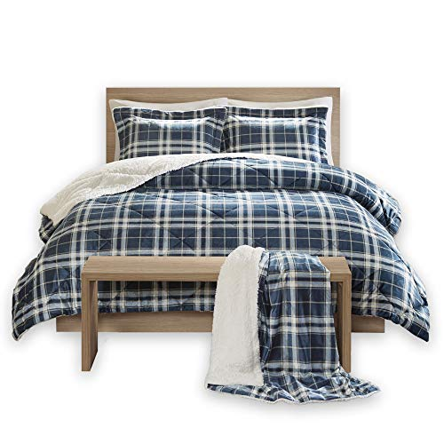 on Sherpa Comforter Set + Throw Combo - 4 Piece - Checker Plaid Pattern - Navy, Blue - King Size - Ultra Softy, Fluffy, Warm - Includes 1 Comforter, 2 Shams, 1 Throw ()