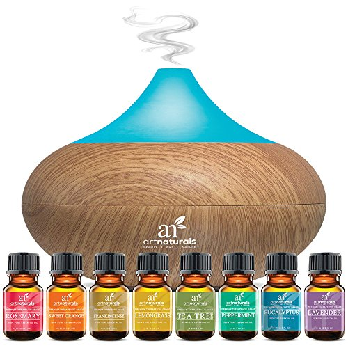 ArtNaturals Aromatherapy Essential Oil and Diffuser Gift Set – (150ml Tank & Top 8 Oils) – Peppermint, Tee Tree, Lavender & Eucalyptus – Auto Shut-off and 7 Color LED Lights – Therapeutic Grade