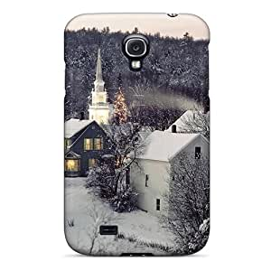 ZBv-860-LnV Tpu Case Skin Protector For Galaxy S4 Winter Village Scene With Nice Appearance